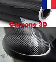 Film Vinyle 3D Carbone Thermoformable Sticker Adhesif Autocollant 152X50 CM Noir
