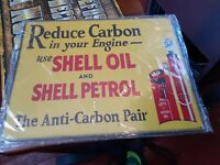 SHELL MOTOR OIL & GASOLINE VINTAGE Gas Pump SIGN Mechanic Garage Free Shipping