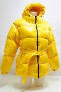 Duvetica Damen Stepp Winter Schnee Kapuzen Jacke Mantel Parka gelb Gr. 42 #P18