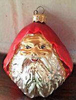 Vintage Blown Glass Santa Claus Face Head Christmas Ornament In Box