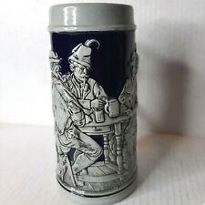 Vintage Gerz Salt Glazed German Stein Mug Pub Scene Blue Gray Relief Bas