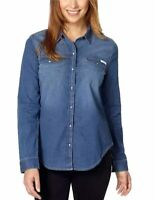 Calvin Klein Jeans Women's Long Sleeve Denim Button Down Shirt . Blue.Sz variety