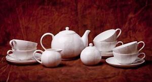 Fine Bone China Tee-Service 15-tlg.  Weiß-Beige, 6 Personen NEU