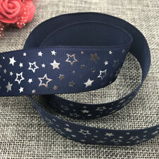 DIY 5yards 25mm print Five stars Hot silver Grosgrain Bow Ribbon Hair Sewing #03