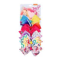 New JOJO SIWA 6 Pcs/Set Rainbow Printed Knot Ribbon Bow Hair Chip For Kids Girls