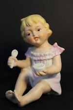 Vintage Piano Baby - Girl with Bowl & Spoon