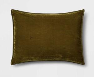 2 Opalhouse MOSS GREEN TUFTED VELVET STANDARD PILLOW SHAMS 20 X 26 Pair
