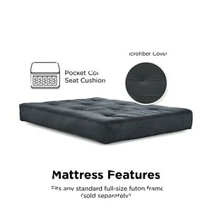 Futon Mattress 8 Inch Full Size Independently Encased Coil Microfiber Grey