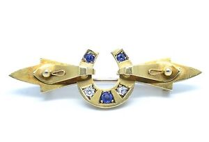 Exquisite Victorian 15ct Gold Sapphire and Diamond Horseshoe Brooch