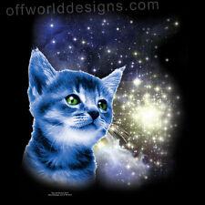 T-Shirt Space Cat Cute Kitten in Star Cluster Nebula Galaxy OffWorld Designs