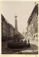Switzerland, Main Street in Berne  Vintage albumen print. Vintage Switzerland