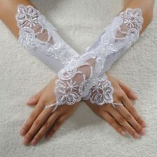 Beautiful White Satin Pearl Embroided Prom Lace Fingerless Gloves Bridal Wedding