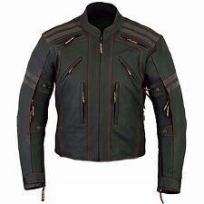 Mens Street Armored Motorcycle Matt Black Leather Jacket (S-3XL)