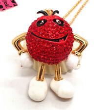 Bea Pendant Betsey Johnson Necklace Hot Red Rhinestone Crystal Mr. Chocolate