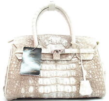 100% GENUINE CROCODILE HORNBACK LEATHER HANDBAG BAG TOTE SHINY WHITE LARGE NEW