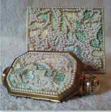 Unique Vintage Compact & Lipstick Mirror Perfume Set Embroidery Faux Pearls Exc.