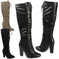 Serenity Womens High Block Heels Lace Up Mid Calf Boots Ladies Shoes Style Size