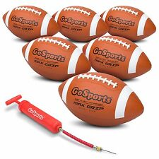 GoSports Rubber Footballs *6 Pack* of Youth Size Balls Plus Pump & Carrying Bag
