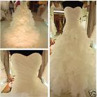 New White ivory Organza Bridal Gown Wedding Dress Stock Size 6 8 10 12 14 16 18