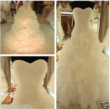 New White ivory Organza Bridal Gown Wedding Dress Stock Size 6 8 10 12 14 16 18