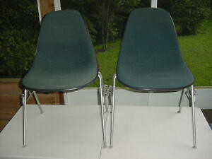 2 Herman Miller Fiberglass MCM Chairs Upholstered Teal, Brown Shell