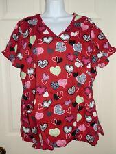 New Womens size XL Red Hearts Scrub Top V-Neck ScrubStar 100% Cotton