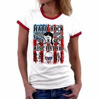 Hard Rock Music print Funny Women Ringer T-Shirts Cotton Summer Short Sleeve