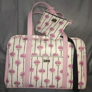 Luv BETSEY JOHNSON Weekender XL Duffel Bag PINK ROSE+WRISTLET 3in1 Crossbody NWT