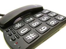 Black Jumbo Button Extra large Easy to Read Desktop Wallmount Phone UK STOCK