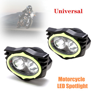Universal Motorcycle LED Auxiliary Spotlight Rearview Mirror Lighting White Beam