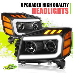LED DRL Projector Headlight Lamps for Nissan Titan Armada 04-15 Black Amber L+R
