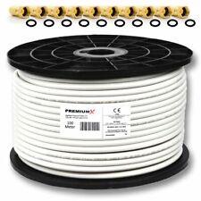100m Koaxialkabel PremiumX Sat Antennen Kabel Digital 130dB 4-fach REINES KUPFER