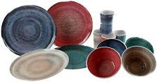 12 Piece Granite Effect Melamine Complete Dining Set (Plates Bowls Cups)