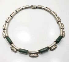 Vintage Mid Century Sterling Silver 925 Malachite Mexico Choker Necklace