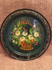 Vintage Russian Lacquered Metal Tray Hand Painted Russia Flowers Urals Signed