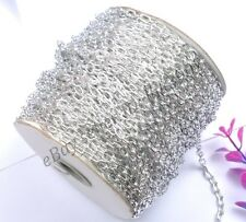 2M/100M GOLD & SILVER PLATED & Cable Open Link Iron Metal Chain & Colors Choose