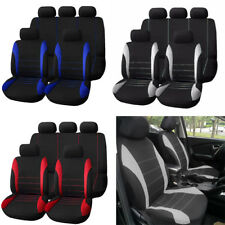 Universal Car Seat Covers 9 Set Full Styling Seat Cover Gray + Black For 5-Seats