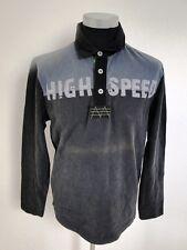 Jacky ICKX Polo-Shirt Herren Langarm Schwarz Grau Gemustert Baumwolle Gr. M