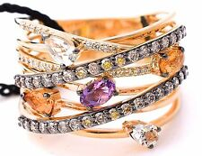 LeVian Chocolate Diamond Ring Amethyst, Citrine, Quartz 1.93cttw 14K Yellow Gold