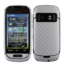 Skinomi Carbon Fiber Silver Skin Phone Cover+Clear Screen Protector for Nokia C7