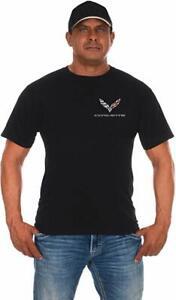 Men's Corvette T-Shirt Logo Racing Black Shirt 2-Sided Crew Neck COR803CLG6