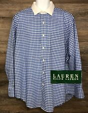 Ralph Lauren LRL Men's Blue Gingham Long Sleeve Dress Shirt Contrast Collar 18