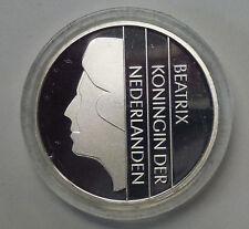 {BJSTAMPS}  2001 1 SILVER GULDEN Netherlands, Beatrix Proof like w/BOX & COA