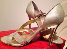 Guess Gold Silver Heels 7.5 Or 38.5 Or 8 Or 39 $169 Wedges Thongs Shoes Sandals