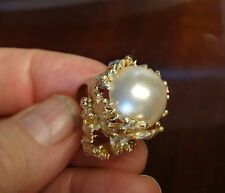 Magnificent huge mabe pearl 14k gold ring 22.8 grams