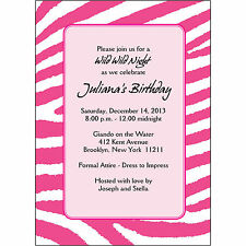 25 Personalized Birthday Party Invitations  - BP-030 Zebra Skin - Magenta