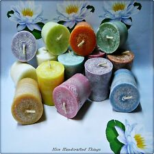Votive Candles x 12 - 10 hrs burn time each - choose your fragrance and colour