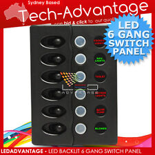 12V NEW MARINE/BOAT 6 GANG WATERPROOF LED SWITCH PANEL