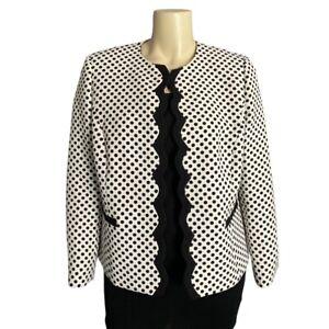 Tahari Arthur S Levine Black And White Polka Dot Open Blazer Size 16W