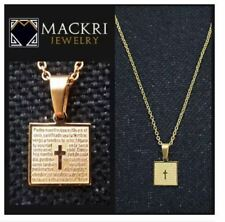 MACKRI Gold Stainless Steel Chain Necklace with Catholic Christian Spanish Our F
